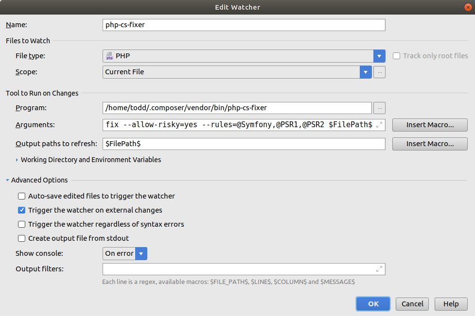 File Watcher Settings for Linux